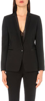 The Kooples Leather-trim single-breasted stretch-wool jacket