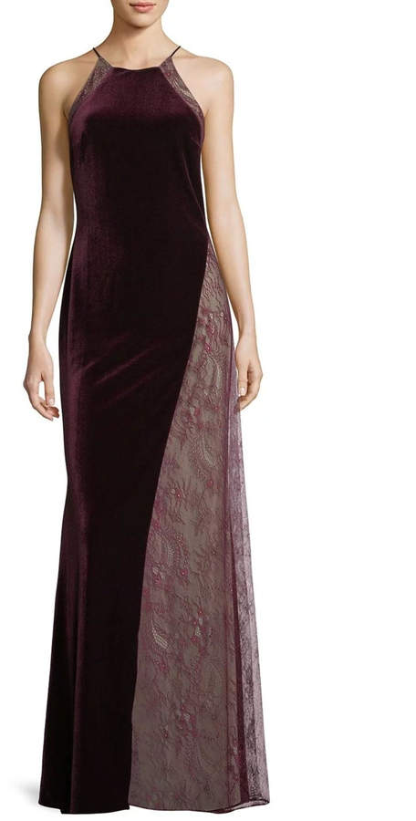 Badgley Mischka Velvet Lace Gown