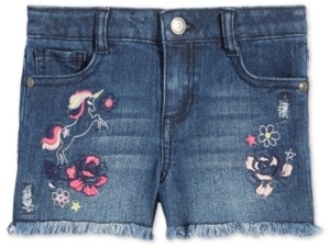 Epic Threads Toddler Girls Embroidered Unicorn Denim Shorts, Created for Macy's