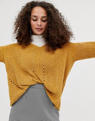 Brave Soul oversized chenille jumper in gold