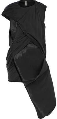Rick Owens Stomper Asymmetric Satin-paneled Silk-jersey Top
