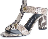 Tom Ford Python T-Strap 65mm Slide Sandal, Gray