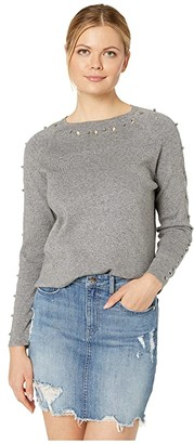 FDJ French Dressing Jeans Long Sleeve Ballet Neck Sweater with Eyelet/Ball Details (Silver Mix) Women's Clothing