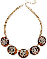Charter Club Gold-Tone Tortoise-Look and Crystal Multi-Disc Statement Necklace, Only at Macy's