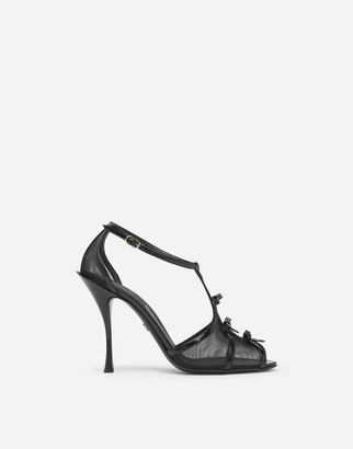 Dolce & Gabbana Polished Calfskin And Mesh Sandals With Small Bows
