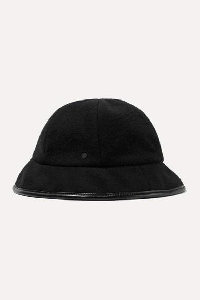 Maison Michel Mara Reversible Leather-trimmed Cashmere Bucket Hat - Black