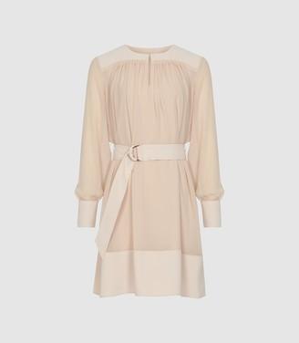 Reiss Finn - Semi Sheer Belted Smock Dress in Nude