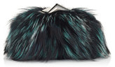Jimmy Choo CARA/S Bottle Green Fox Fur Clutch Bag