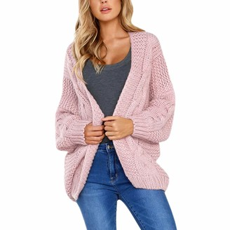 LAEMILIA Womens Open Front Long Sleeve Chunky Knit Cardigan Sweater Kimono Cover up Pink