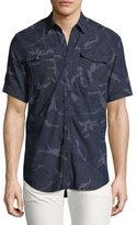 G Star G-Star Landoh Camouflage Chambray Short-Sleeve Shirt, Navy