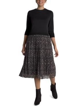 Julia Jordan Sweater Dress With Pleated Skirt