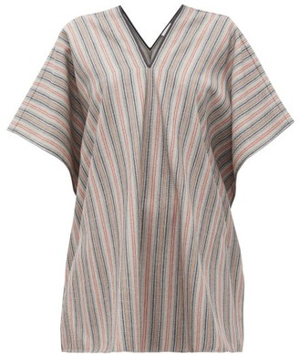 Jil Sander V-neck Striped Wool-blend Tunic Top - Grey Stripe