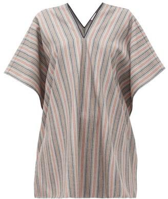 Jil Sander V-neck Striped Wool-blend Tunic Top - Womens - Grey Stripe