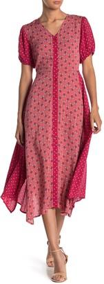 Sharagano Mixed Floral V-Neck Button Midi Dress
