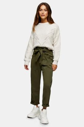 Topshop Womens Petite Khaki Utility Trousers - Khaki