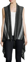 Neiman Marcus Cascade Striped Cashmere Vest, Gray