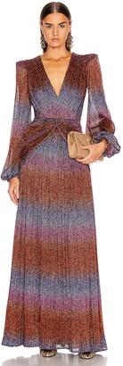 PatBO Rainbow Lurex Long Sleeve Gown in Multi   FWRD