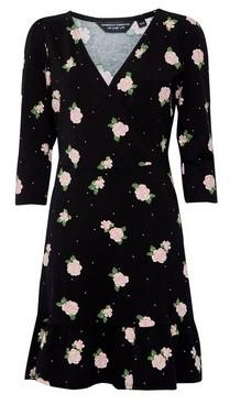 Dorothy Perkins Womens Black Floral Print Wrap Dress, Black