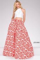 Jovani Two Piece Halter Neck Floral Skirt Prom Ballgown 48948