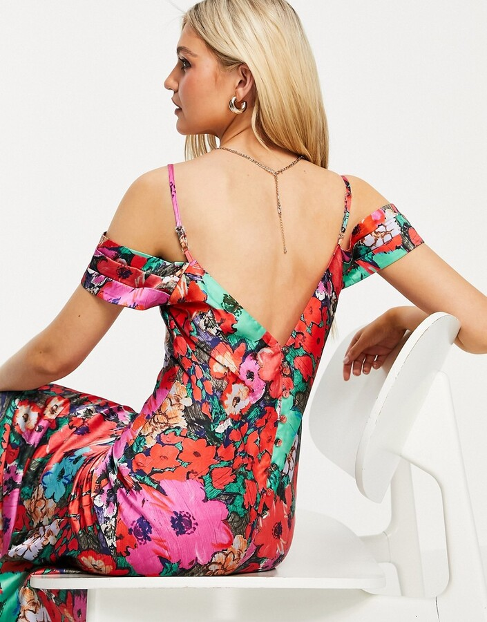 Thumbnail for your product : Hope & Ivy cold shoulder satin slip midaxi dress in floral