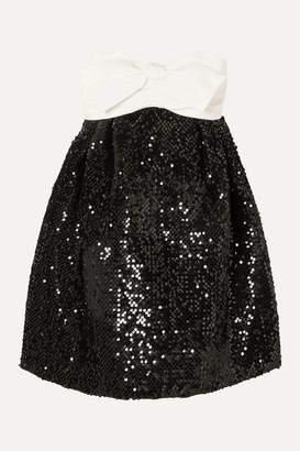 Alexandre Vauthier Strapless Bow-detailed Satin And Sequined Velvet Mini Dress - Black