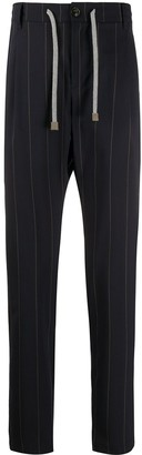 Eleventy High-Waisted Striped Trousers