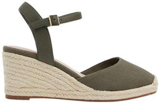 Easy Steps Santos Khaki Fabric Wedge Sandals
