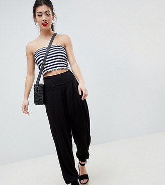 Asos DESIGN Petite ultimate jersey harem trousers-Black