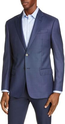 Emporio Armani Blue Screen Trim Fit Wool Sport Coat