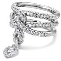 David Yurman Continuance Drop Ring With Diamonds In 18K White Gold,