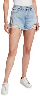 Alice + Olivia Jeans Amazing High-Rise Shredded Denim Shorts