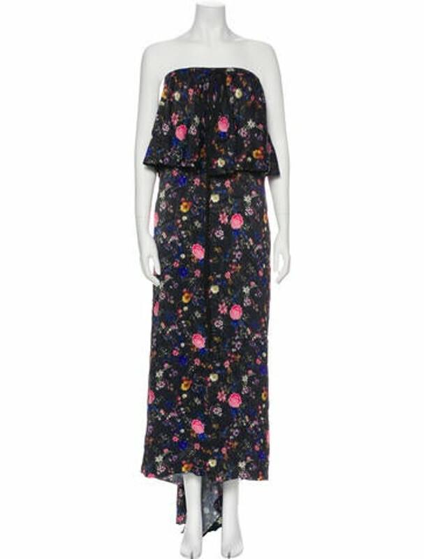 Thumbnail for your product : Osman Floral Print Long Dress Black