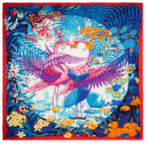 """Flamingo Party"" Cashmere & Silk Shawl, 55"" x 55"""