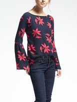 Banana Republic Easy Care Bell Sleeve Floral Crepe Top