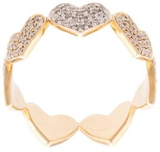 Sydney Evan 14kt Yellow Gold Large Diamond Heart Eternity Ring