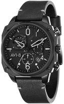AVI-8 Men's Hawker Hunter Black Leather Strap Watch