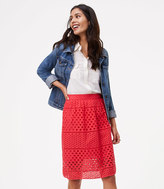 LOFT Striped Eyelet Skirt