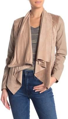 Blank NYC Blanknyc Denim Mixed Media Faux Leather Drape Front Jacket