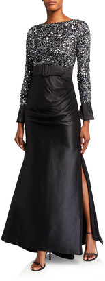 Badgley Mischka Couture Multi Sequin Bodice Long-Sleeve Gown w/ Draped Mikado Skirt