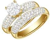 FineTresor 2.92 Carat Round Diamond Engagement Ring Bridal Set Engagement Ring on 14K Yellow Gold