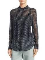 Theory Sunaya Silk Button-Down Top