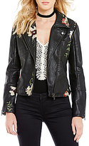 Chelsea & Violet V-Neck Embroidered Faux Leather Moto Jacket