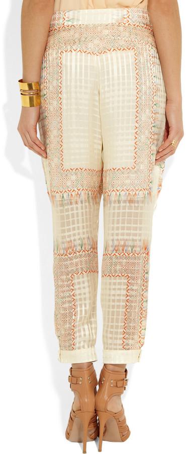 Chloé Printed silk-foulard tapered pants