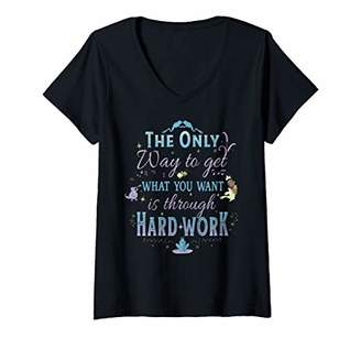 Disney Womens The Princess And The Frog Through Hard Work Quote V-Neck T-Shirt