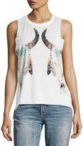 Chaser Reflected Floral Cow Skulls Tank, White