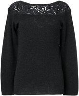 Agnona guipure inset slash neck sweater - women - Polyamide/Camel Hair/Wool - 40