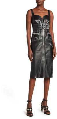 Alexander McQueen Exposed-Zip Belted Leather Dress