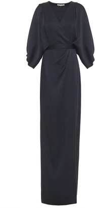 Halston Draped Satin-crepe Wrap Gown