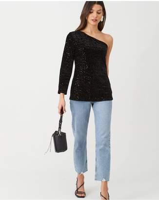 Very Sequin One Shoulder Top - Black