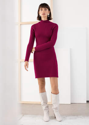 And other stories Ribbed Stretch Mock Neck Mini Dress